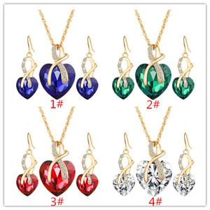 Collana di alta qualità a forma di cuore di lusso austriaco di zircon di cristallo a forma di cuore di alta qualità, gioielli di moda all'ingrosso