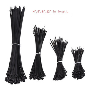 1000pcs Black Nylon Self-Locking Heavy Duty Standard Cable Wrap Zip Ties Straps Wire Cable Tie Kit Fasten Ties for home and Industry