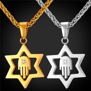 Yıldız David Kolye Kadınlar için Erkekler Takı 18 K Gerçek Altın Kaplama Paslanmaz Çelik Hamsa El Şanslı Kolye Kolye