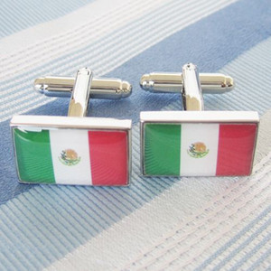 Mexico Flag Cufflink 3 Pairs Wholesale Free Shipping Promotion