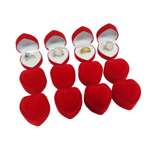 Wholesale 24Pcs Romantic Velvet Birthday engagement Ring Box Red Heart Shaped Valentine's Day Ring Gift Box Velvet Ring Box