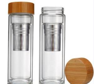 Coperchio in bambù da 400ml Bicchiere da tè in vetro a doppia parete Include bottiglia di setaccio e cestello per infusore