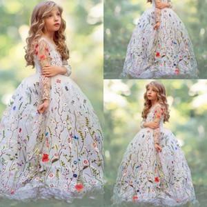 Великолепная Вышивка Девушки Pageant Платья Белый Бальное Платье Sheer Длинные Рукава Девушки Цветка Платья Для Свадьбы Органзы Дети Платье Партии