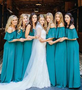 Aqua Chiffon elegante Brautjungfernkleider für Sommer Boho Hochzeiten aus Schultern Falten lange Party Hochzeitsgast Brautjungfernkleider