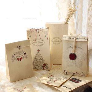 메리 크리스마스 선물 가방 크래프트 종이 웨딩 캔디 치료 가방 파티는 가와이이 빵 쿠키 식품 포장 가방을 부탁 LZ0649