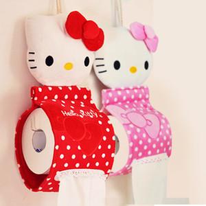 Оптовая торговля-высокое качество Kawaii HelloKITTY главная ванная комната ткань Case Box контейнер полотенце салфетка бумаги мешок держатель BOX Case мешок ткани box