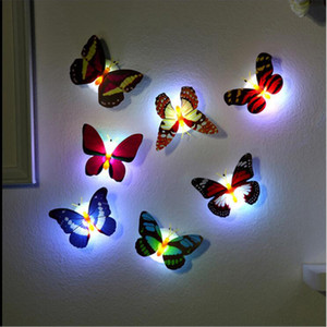 Красивая Бабочка LED Night Light Лампы Настенные Наклейки с Присоской На Рождество Свадьба Украшения Дома Ночные Лампы
