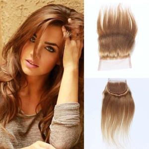 """Pure Honey Blonde Hair Straight Top Затворы 4 """"х 4"""" Lace Closure Дешевые блондинку прямо волос Remy человеческих волос"""
