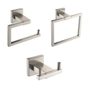 Bathroom Accessories Tissue Holder Double Hook Towel Ring SUS304 Stainless Steel Wall Mount, Brushed Finish