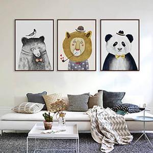 Modern Suluboya Karikatür Sevimli Hayvanlar Aslan Ayı Panda A4 Posteri Baskı Duvar Sanatı Resim Nordic Bebek Çocuk Odası Ev Dekor Tuval Boyama
