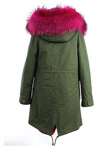 marchio Jazzevar Rose 100% fodera in pelliccia di coniglio lungo esercito tela verde parka fodera staccabile della neve delle donne cappotti invernali come lo stile mrs