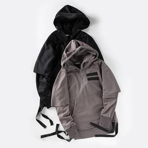 Ruban latéral Débloquer Hem Streetwear Mens Hoodies 2017 Printemps Automne Faux 2pcs Blank Hip Hop Sweat Hommes Gris foncé