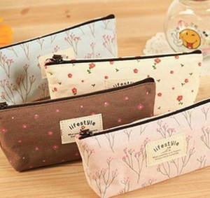 Vintage Floral Fabric Coin Purse wallet pencil Pen Case Cosmetic Makeup Bag Storage Pouch Students Stocking Filler Gift Party favor 4colors