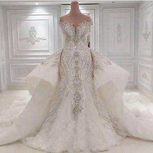 2020 Portrait Sparkly Crystal Rhinestones Mermaid Wedding Dresses Off the Shoulder Lace Overskirts Bridal Gowns Dubai Vestidos De Novia