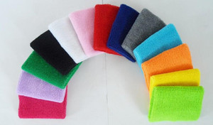 2016 New and hot Unisex Cotton Sweat Band Sweatband Wristband Arm Band Basketball Tennis Gym Yoga Wrist Support DHL FEDEX FREE SHIPPING