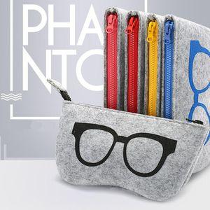 El más nuevo de Zipper Stripped Glasses Pouch Gafas de sol de la bolsa de fieltro protector de bolsa de almacenamiento Freeshipping 18.5 * 9 cm