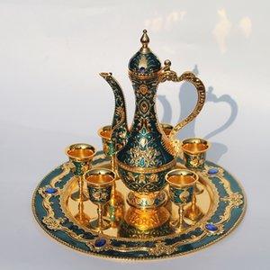 """12"""" Platte, Gold fertige Blumenmuster Metall Weinset / Tee-Set, Art und Weise Zink-Legierung Weinset 3 Farbe"""