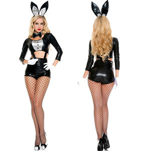 Halloween Easter Bunny Girl Costume Mujeres Conejo Cosplay Outfit Mago Ropa Sexy Negro Fiesta de Baile Uniformes