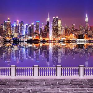 Sfondo di scena di notte città ponte sullo sfondo di vinile scintillante luce edifici fiume foto di matrimonio sparare sfondo per studio fotografico