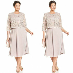Elegant Short Lace Mother of the Bride Dresses With Jackets Formal Suits Godmother Evening Wedding Guests Dress Custom Made Plus Size