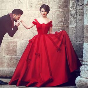 Saidmhamad Vino rosso Abiti da Noiva Off the Shoulder Abito di sfera Lunghezza intera Abiti da cerimonia in raso formale Elegante abito da ballo