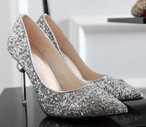 Mulheres casamento Bling lantejouled sapatos de salto alto moda glitter lindo festa salto alto bombas sapatos ouro prata vermelho Natal presente 9.5cm