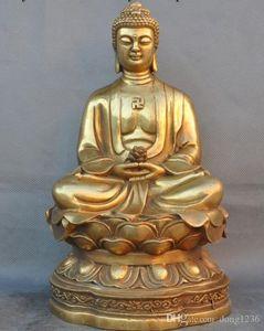 Statua buddha di Buddha sakyamuni Shakyamuni Amitabha in ottone di ottone del tempio
