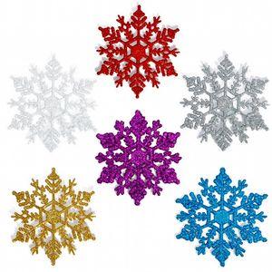 10cm Colorful Christmas snowflake Tree Decorations Snowflakes 12pcs / bag Plastica artificiale neve Decorazioni di Natale per la casa Navidad