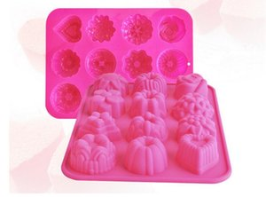 Factory Flower Shape Muffin Case Candy Jelly Ice Cake Silicone Mould Mold Baking Pan Tray 21.4*16*2.5CM Cake Tools