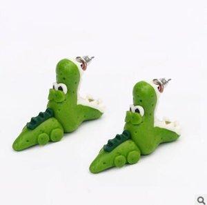 Handmade Polymer Clay Crocodile Dinosaur Stud For Women Animal Fine Fashion Girl Earring 1 Pair Earrings Jewelry