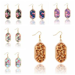 Joyería de los pendientes de oro impresión del leopardo de la geometría de la vendimia de la gema pendientes del banquete del partido de las mujeres para la piedra
