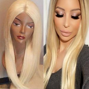 Full Lace perruques de cheveux humains avec des cheveux de bébé perruque blonde droite cheveux brésiliens Remy couleur # 613 12inch-26inch en stock