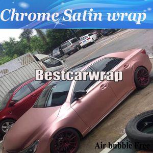Розовое золото Chrome Satin Car Wrap Виниловая пленка для укладки атласа - Chrome Vehicle WRAPPING кожа Роскошные обертывания наклейки размером 1,52x20 м / рулон
