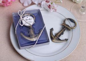 الشحن مجانا الزفاف هبات نحاسي مرساة على شكل الكروم فتحت زجاجة في علبة هدية الزفاف تفضل فتاحة النبيذ