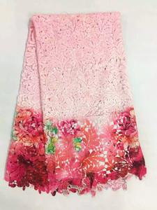 5 Yards / pc Sıcak satış açık pembe yapraklar desen süt ipek dantel kumaş ve baskılar kırmızı çiçek desen fransız dantel elbise RM3-7