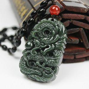 Pura tallada a mano natural dragón de jade China Hetian jade colgante auspicioso collar de dragón cuerpo masculino LIBRE