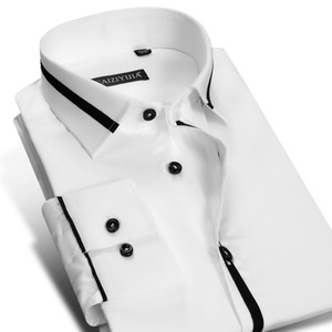 Wholesale- CAIZIYIJIA 2017 Men's Long Sleeve White Dress Shirts with Black Patchwork Striped Easy Care Fine Pure Cotton Slim Fit Work Shirt