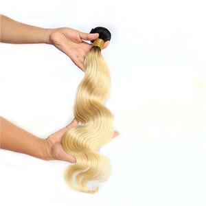 Hombre Human Hair Weave 1 Bundle 1B 613 Brasiliano Body Wave Weave Capelli Non remy capelli biondi 1 pezzo solo 100 g Trasporto libero
