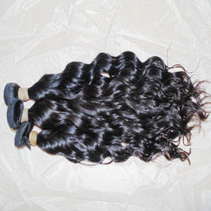 Natural cabelo onda raça Água virgem ondulado cabelo humano indiano não processado wefts 300g / lote armazém rápido