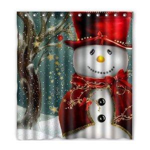 Рождественская елка снеговик Санта-Клаус дизайн полиэфирной ткани водонепроницаемый ванной занавески для душа с 12 крючками 165*180 см ZA3893