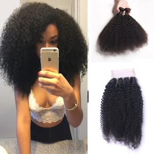8A Sınıfı Brezilyalı Saç Kinky Curl Bakire İnsan Saç Afro Kinky Dokuma Kapatma ile 3 Paketler İşlenmemiş Doğal Renk Saç Uzantıları