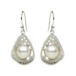 Atacado Genuíno jóias real natural grande 925 Sterling Silver elegante temperamento clássico brincos de pérolas naturais jóias das mulheres