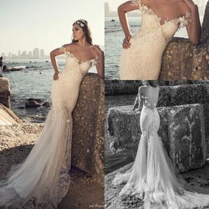 2019 Beach New Backless Mermaid Vestidos de novia Off Hoters Lace Burice Designer 3D-Floral Brodal Batos con trenes de barrido