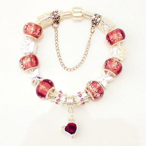 Estilo europeo plateado cristal Charm Bracelet para mujeres con púrpura perlas de cristal de Murano DIY joyería