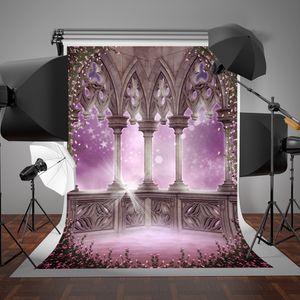 SUSU Fond Rose Famille Balcon Rose Fleurs Photographie Décors 5x7ft (150x220cm) Fantaisie Etoiles Conte de Fées Dream Studio Arrière-plans