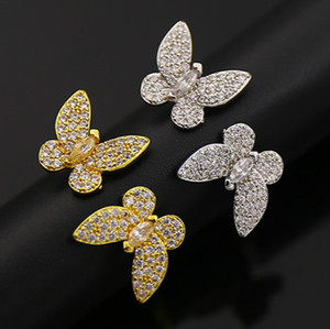 CZ Pedra Borboleta Anéis De Cobre Completa Para As Mulheres O Estilo Do Oriente Médio Moda Jóias de Ouro Amarelo Platinadas Acessórios de Alta Qualidade