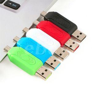 2 в 1 USB мужчина к Micro USB двойной слот OTG адаптер с TF / SD кард-ридер для Android смартфон планшет Samsung