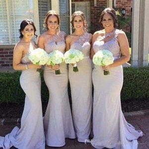 Nueva sirena vestidos de dama de honor 2017 elegante un hombro apliques de encaje satinado sin espalda larga baratos vestidos de noche vestidos de invitados de la boda