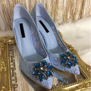 Moda Kristal Süslenmiş Kadınlar Pompalar Lüks Gelin Düğün Ayakkabı Seksi Dantel Sivri Burun Yüksek Topuk Ayakkabı Kadın Elbise Pompaları Sapato Feminino