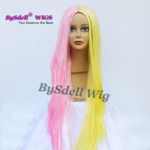 Bellezza Harajuku pastello giallo misto parrucca colore rosa sintetico lungo rettilineo nessuna parrucca del merletto / parrucca anteriore del merletto / parrucche piene del merletto in vendita